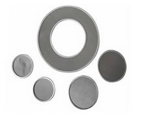 Stainless Steel Sintered Wire Cloth Cut and Sealed or Rimed, Annulus Disc Filters